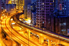 Busy highway train traffic night Royalty Free Stock Image