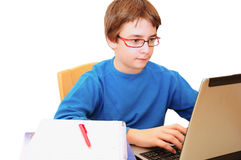 Busy with homework Stock Photo