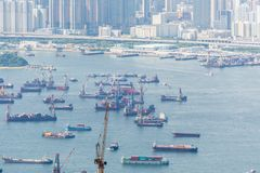 Busy Hong Kong port with many ships Royalty Free Stock Photography