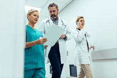 Busy hospital staff discussing in hospital hallway. Busy hospital staff walking in hospital hallway discussing medical report. Three healthcare workers in Stock Images