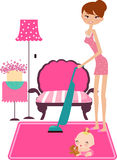 Busy house keeping woman Royalty Free Stock Image