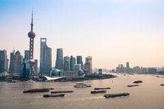 Busy huangpu river at dusk Royalty Free Stock Images