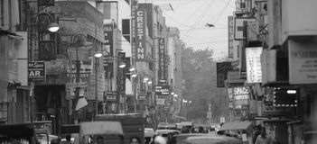 Busy Indian Street. In black and white Stock Photography