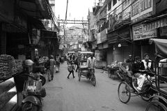 Busy Indian Street. In black and white Royalty Free Stock Photos