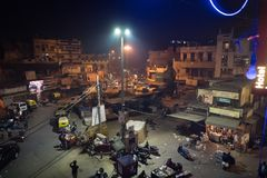Busy Indian Street Market in New Delhi, India. Night Main Bazaar top view royalty free stock photography
