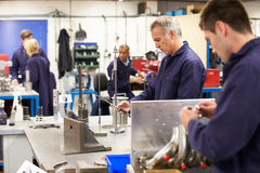 Busy Interior Of Engineering Workshop. In Factory Royalty Free Stock Photos