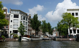 Busy intersection of canals in Amsterdam Royalty Free Stock Photos