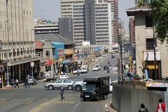 Busy intersection in downtown Johannesburg. Busy intersection in the Central Business District, Johannesburg, South Africa Royalty Free Stock Photos
