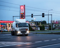 Busy intersection. With driving truck by night in Poznan, Poland Stock Image
