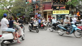 Busy intersection in Hanoi's Old Town stock footage