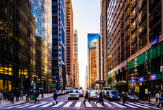Busy intersection and skyscrapers in Center City, Philadelphia, Royalty Free Stock Images