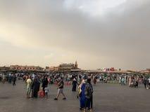 Busy Market of Jemaa el-Fnaa stock photography