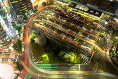 Busy Junction at yokohama station. Busy Junction at Night from Above at yokohama station Royalty Free Stock Photo
