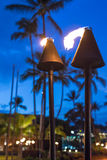 Busy Kailua KOna city view with bokeh. Kailua - Kona, Hawaii traditional torches to light the city Royalty Free Stock Images