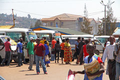 Busy Kigali Rwanda. People moving and working in the busy bus station of Kigali, Rwanda, Africa stock photos