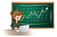 A busy lady using laptop in front of blackboard Royalty Free Stock Photo