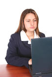 Busy Latin Woman. A Business Woman concentrated in her laptop Stock Photo