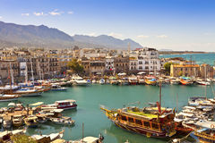 Busy life of an historic harbour in Kyrenia, Cypru Stock Images