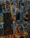 Busy lights. Chicago skyline shining at busy night Stock Photos