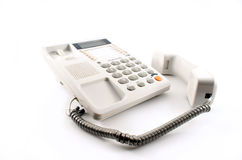 Busy line. White telephone with earpiece off Royalty Free Stock Photo