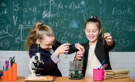 Really busy. Little girls in school lab. Science is future. Little girls scientist work with microscope. Chemistry royalty free stock photos