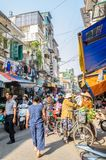 Busy local daily life of the morning street market in Hanoi, Vietnam. A busy crowd of sellers and buyers in the market. Hanoi,Vietnam - November 2,2017 : Busy Royalty Free Stock Photo