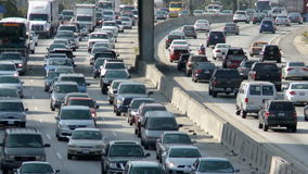 Busy Los Angeles Freeway stock video footage