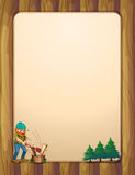A busy lumberjack in front of the empty wooden template Stock Images