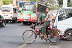 Busy Maha Bandoola Road in Yangon Stock Image