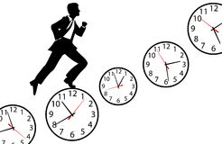Busy man hurry up work day clock Royalty Free Stock Photos