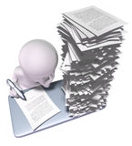 Busy man with a lot of work to do. 3d man with stack of papers on his desk Stock Photos