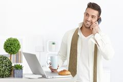 Busy man in the morning Stock Image