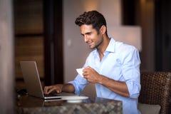 Busy man at morning Stock Image