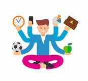 Busy man with multi tasking. Vector flat Royalty Free Stock Photo
