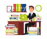 Busy man office worker. Businessman royalty free illustration