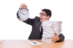 Busy man with stack of paperr Stock Photos