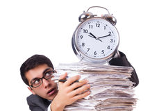 Busy man with stack of papers Royalty Free Stock Images