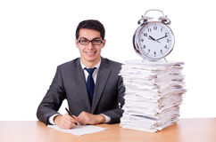 Busy man with stack of papers isolated Stock Photography