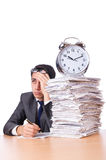 Busy man with stack of papers isolated Stock Images