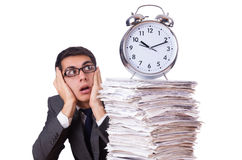 Busy man with stack of papers isolated Royalty Free Stock Photo