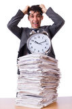 Busy man with stack of papers isolated Stock Photo