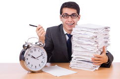 Busy man with stack of papers isolated Stock Image