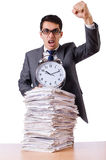 Busy man with stack of papers isolated Royalty Free Stock Photography