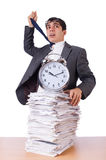 Busy man with stack of papers isolated Royalty Free Stock Images