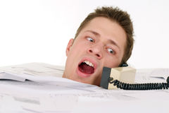 Busy man with telephone Stock Photos