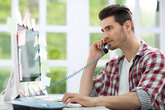 Busy man working Stock Image