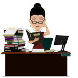 Busy Manager. Busy female Manager are verifying  document file on her desk Stock Photo