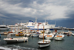 Busy marina on the Isle of Capri, Italy Stock Photo