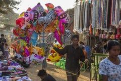 Busy Market in Bagan - Myanmar (Burma) Royalty Free Stock Images