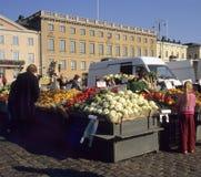 Busy Market Day. Vegetable market in Helsinki, Finland stock photo